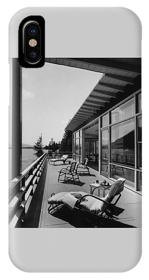 Architecture IPhone X Case featuring the photograph The Alfred Rose Lake Placid Summer Home by Robert M. Damora