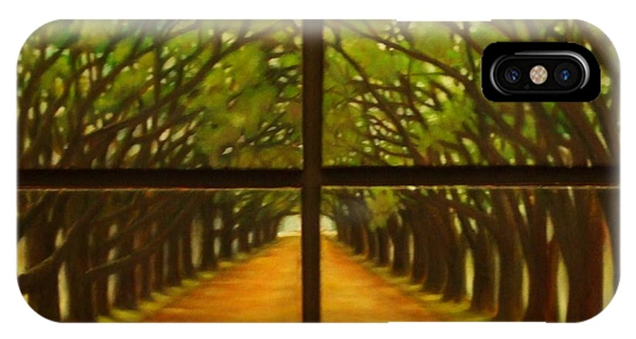 Landscape IPhone X Case featuring the painting The Alley by M J Venrick