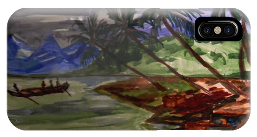 Landscape IPhone X Case featuring the painting The Amazon by Ayyappa Das