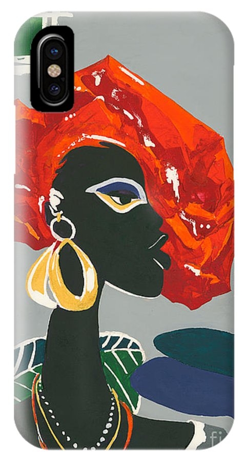 Black IPhone X Case featuring the painting The Ambassador by Elisabeta Hermann