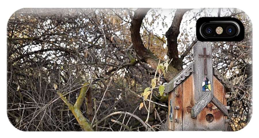 Melba; Idaho; Birdhouse; Shelter; Outdoor; Fall; Autumn; Leaves; Plant; Vegetation; Land; Landscape; Tree; Branch; House; Cross; IPhone X Case featuring the photograph The American Dusky Flycatcher by Image Takers Photography LLC - Carol Haddon