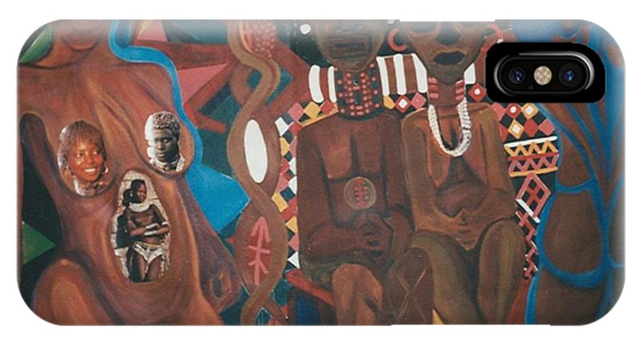IPhone X Case featuring the painting The Ancestors by Kalikata MBula