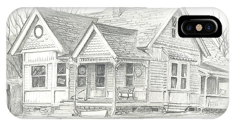 The Antique Shop IPhone X Case featuring the drawing The Antique Shop by Kip DeVore