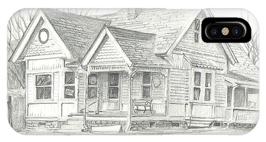 The Antique Shop IPhone X Case featuring the drawing The Antique Shop by Kip DeVore