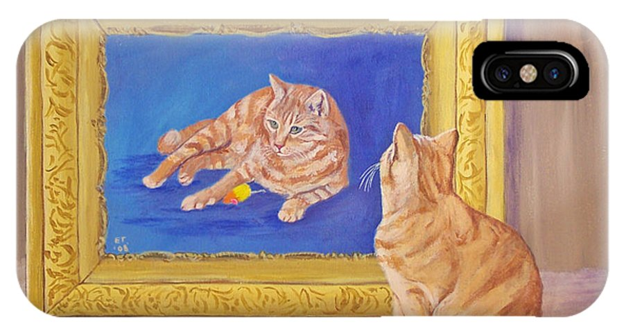 Cat IPhone X Case featuring the painting The Art Critic by Ellie Taylor