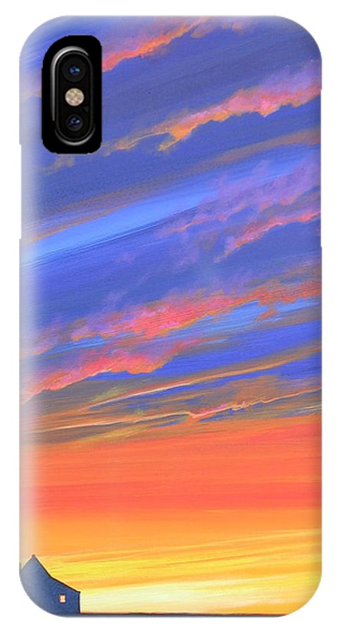 Sunset IPhone X Case featuring the painting The Aunt's House by Hunter Jay