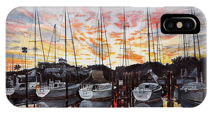 Boats IPhone X Case featuring the painting The Backyard by Jim Melton