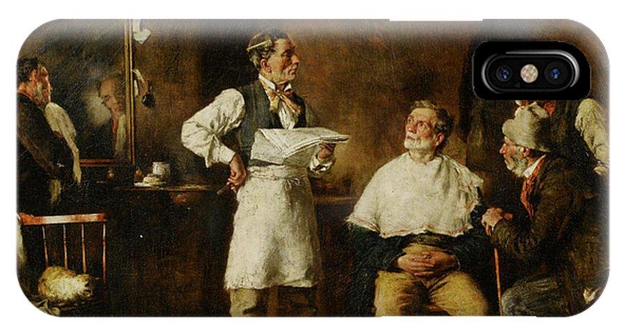 George Elgar Hicks IPhone X Case featuring the digital art The Barbers Shop by George Elgar Hicks