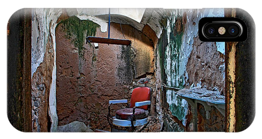 Eastern State Penitentiary Red Barbershop Chair Cell Prison Esp Philadelphia IPhone X Case featuring the photograph The Barbershop Chair by Alice Gipson