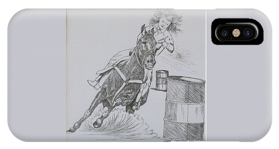 Black And Grey Black Poster IPhone X Case featuring the drawing The Barrel Racer by Wanda Dansereau