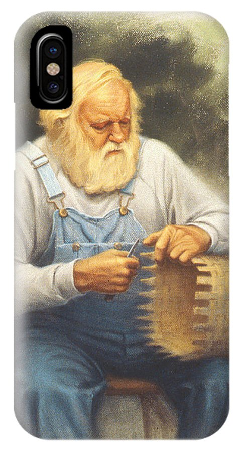 Bearded Man IPhone X Case featuring the painting The Basketmaker In Pastel by Paul Krapf