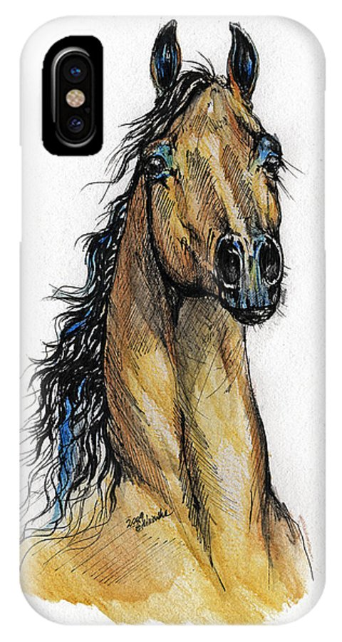 Arab IPhone X Case featuring the painting The Bay Arabian Horse 13 by Angel Ciesniarska