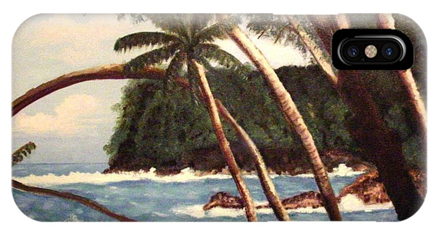 Hawaii IPhone X Case featuring the painting The Big Island by Laurie Morgan
