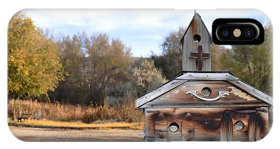 Melba; Idaho; Birdhouse; Shelter; Outdoor; Fall; Autumn; Leaves; Plant; Vegetation; Land; Landscape; Tree; Branch; House; Cross; IPhone X Case featuring the photograph The Birdhouse Kingdom - American Kestrel by Image Takers Photography LLC - Carol Haddon