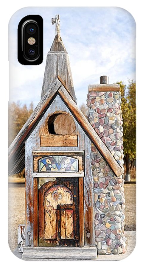 Melba; Idaho; Birdhouse; Shelter; Outdoor; Fall; Autumn; Leaves; Plant; Vegetation; Land; Landscape; Tree; Branch; House; Cross; IPhone X Case featuring the photograph The Birdhouse Kingdom - The American Coot by Image Takers Photography LLC - Carol Haddon