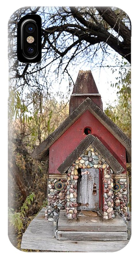 Melba; Idaho; Birdhouse; Shelter; Outdoor; Fall; Autumn; Leaves; Plant; Vegetation; Land; Landscape; Tree; Branch; House; Cross; IPhone X Case featuring the photograph The Birdhouse Kingdom - The Cliff Swallow by Image Takers Photography LLC - Carol Haddon