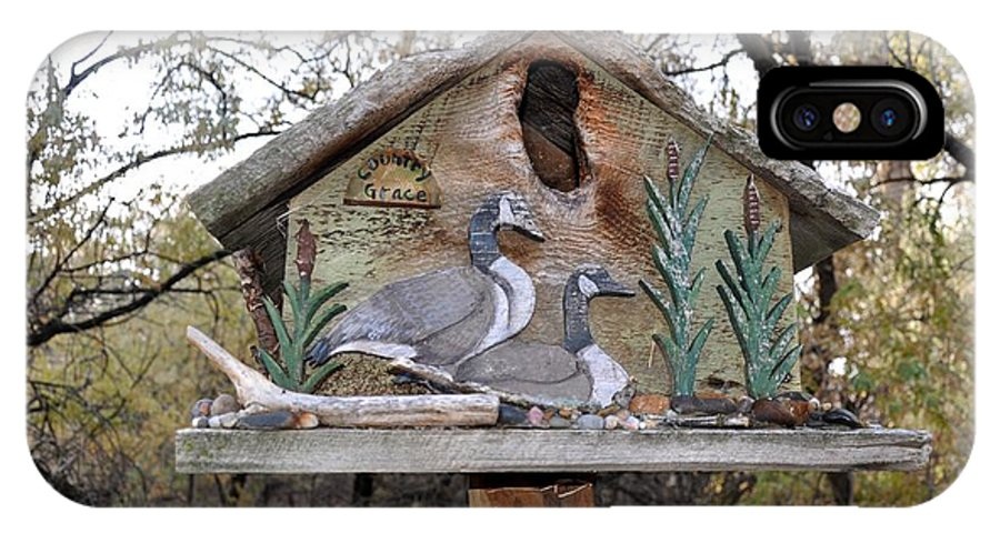 Melba; Idaho; Birdhouse; Shelter; Outdoor; Fall; Autumn; Leaves; Plant; Vegetation; Land; Landscape; Tree; Branch; House; Geese; IPhone X Case featuring the photograph The Birdhouse Kingdom - The Geese A Swimming by Image Takers Photography LLC - Carol Haddon