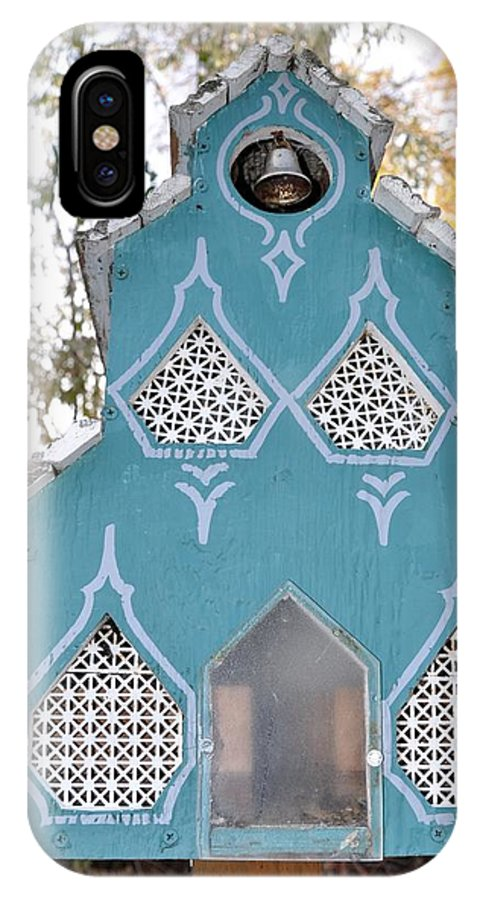 Melba; Idaho; Birdhouse; Shelter; Outdoor; Fall; Autumn; Leaves; Plant; Vegetation; Land; Landscape; Tree; Branch; House;  IPhone X Case featuring the photograph The Birdhouse Kingdom - The Northern Flicker by Image Takers Photography LLC - Carol Haddon