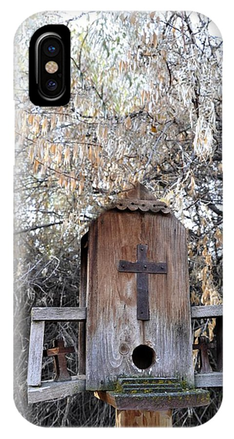 Melba; Idaho; Birdhouse; Shelter; Outdoor; Fall; Autumn; Leaves; Plant; Vegetation; Land; Landscape; Tree; Branch; House; Cross; IPhone X Case featuring the photograph The Birdhouse Kingdom - The Olive-sided Flycatcher by Image Takers Photography LLC - Carol Haddon