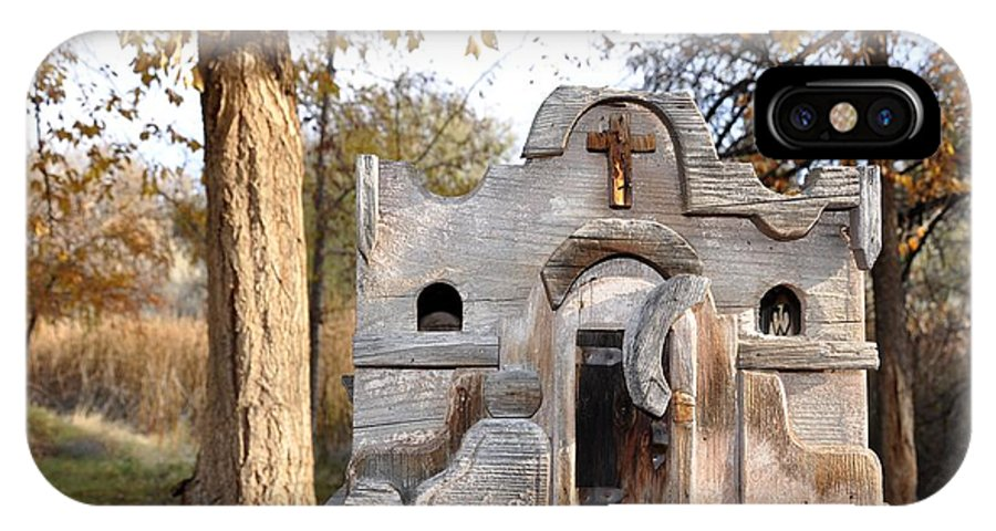 Melba; Idaho; Birdhouse; Shelter; Outdoor; Fall; Autumn; Leaves; Plant; Vegetation; Land; Landscape; Tree; Branch; House; Cross; IPhone X Case featuring the photograph The Birdhouse Kingdom - The Purple Finch by Image Takers Photography LLC - Carol Haddon