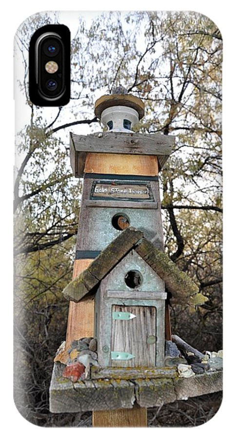 Melba; Idaho; Birdhouse; Shelter; Outdoor; Fall; Autumn; Leaves; Plant; Vegetation; Land; Landscape; Tree; Branch; House; Cross; IPhone X Case featuring the photograph The Birdhouse Kingdom - The Sea Bird by Image Takers Photography LLC - Carol Haddon