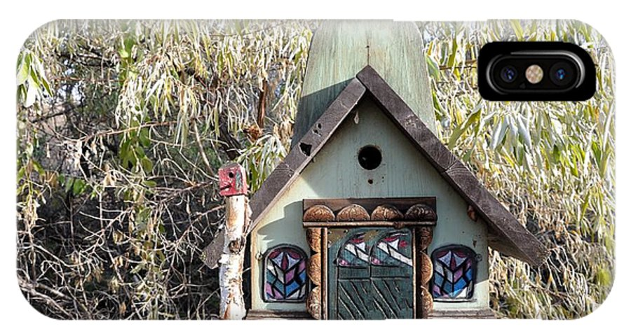 Melba; Idaho; Birdhouse; Shelter; Outdoor; Fall; Autumn; Leaves; Plant; Vegetation; Land; Landscape; Tree; Branch; House; Cross; IPhone X Case featuring the photograph The Birdhouse Kingdom - The Western Tanager by Image Takers Photography LLC - Carol Haddon