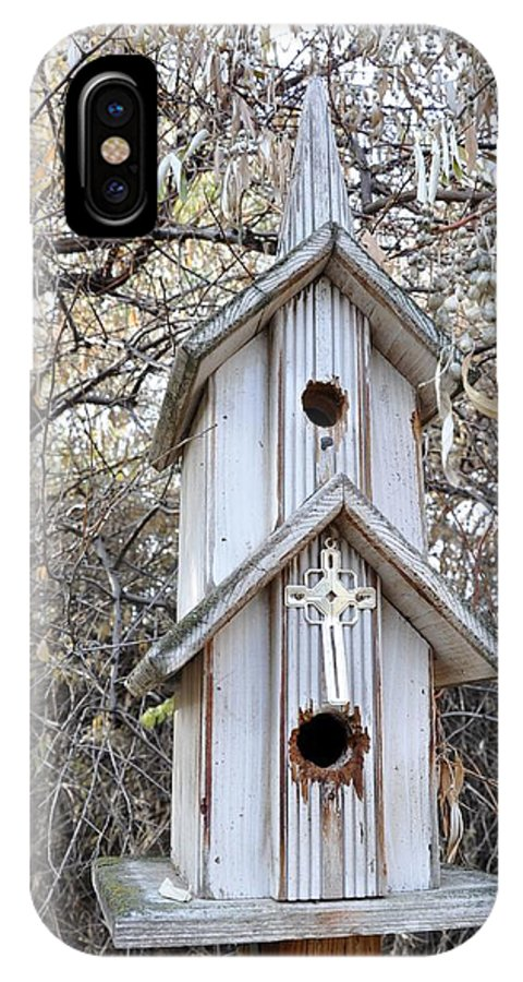 Melba; Idaho; Birdhouse; Shelter; Outdoor; Fall; Autumn; Leaves; Plant; Vegetation; Land; Landscape; Tree; Branch; House; Cross; IPhone X Case featuring the photograph The Birdhouse Kingdom - The Western Wood-pewkk by Image Takers Photography LLC - Carol Haddon