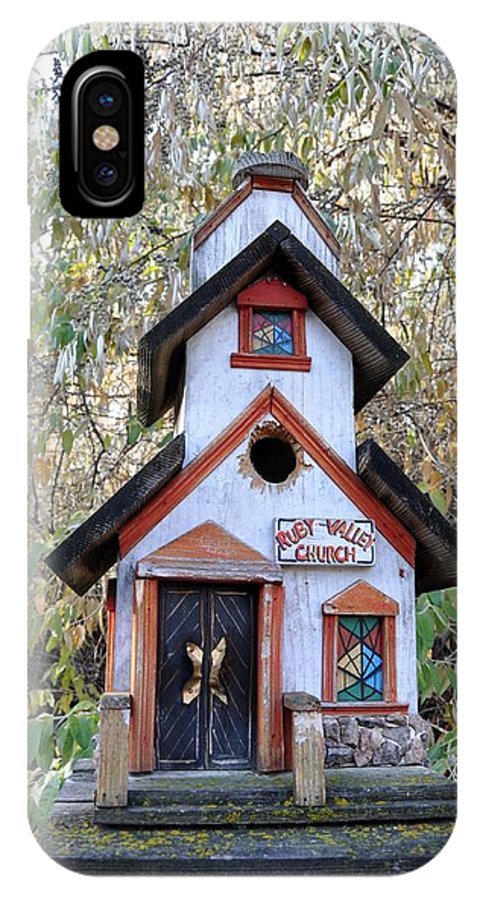Melba; Idaho; Birdhouse; Shelter; Outdoor; Fall; Autumn; Leaves; Plant; Vegetation; Land; Landscape; Tree; Branch; House; IPhone X Case featuring the photograph The Birdhouse Kingdom -the Pygmy Nuthatch by Image Takers Photography LLC - Carol Haddon