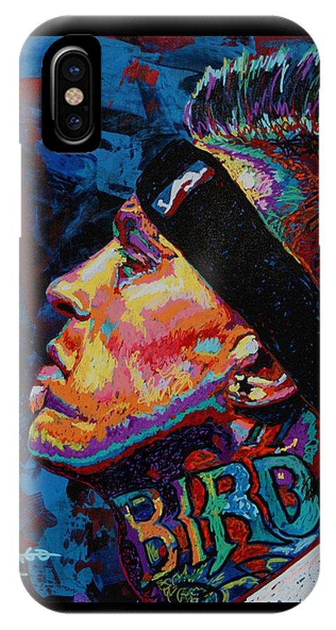 Chris Andersen IPhone X Case featuring the painting The Birdman Chris Andersen by Maria Arango