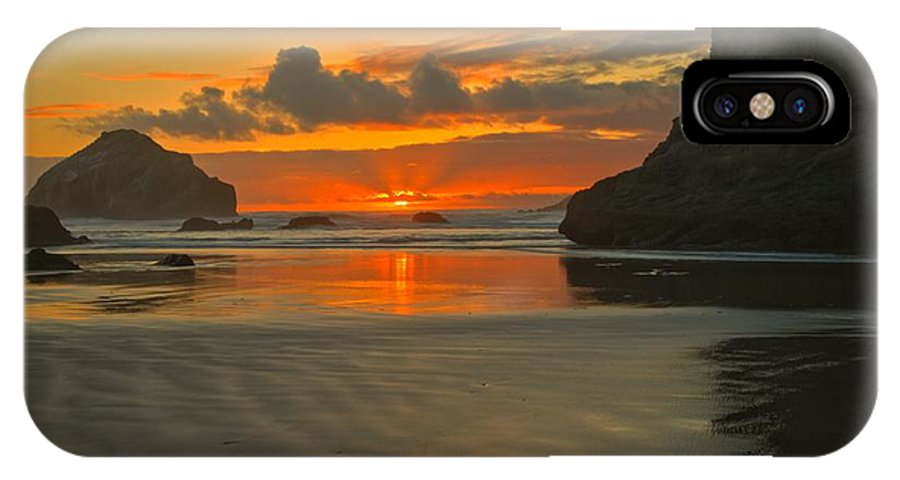 Bandon Beach IPhone X Case featuring the photograph The Black Boot by Adam Jewell