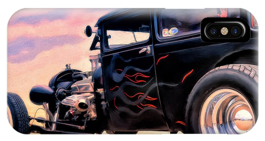 Rat Rod IPhone X Case featuring the painting The Black Ghost by Michael Pickett