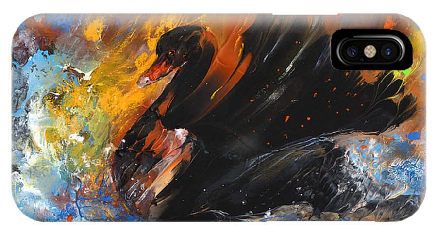 Fantasy IPhone X Case featuring the painting The Black Swan by Miki De Goodaboom