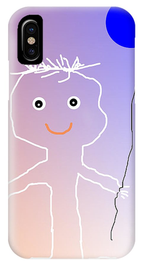 Guy IPhone X Case featuring the digital art The Blue Baloon by Elisabet Bondesson