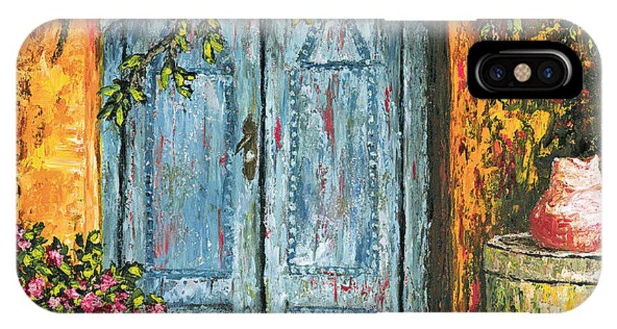 Door IPhone X Case featuring the painting The Blue Door by Darice Machel McGuire