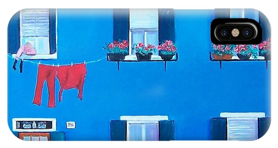 Blue House IPhone X Case featuring the painting The Blue House Burano by Jan Matson