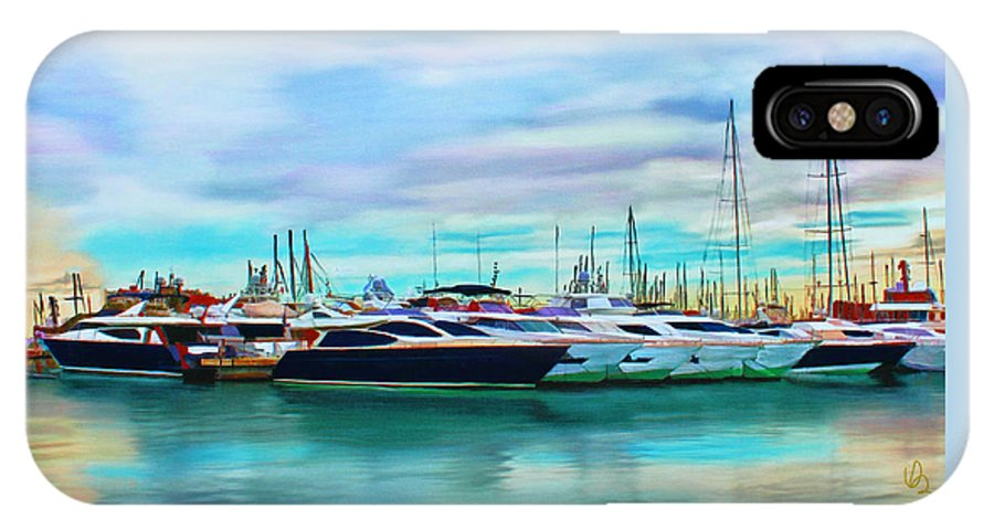 Spain IPhone X Case featuring the mixed media The Boats Of Palma De Mallorca by Deborah Boyd