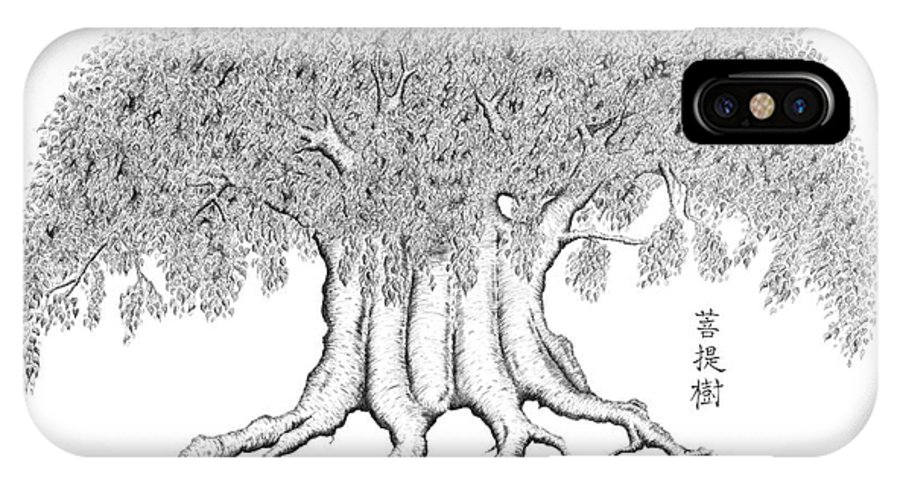 Bonsai IPhone X / XS Case featuring the drawing The Boddhi Tree by Robert Fenwick May Jr