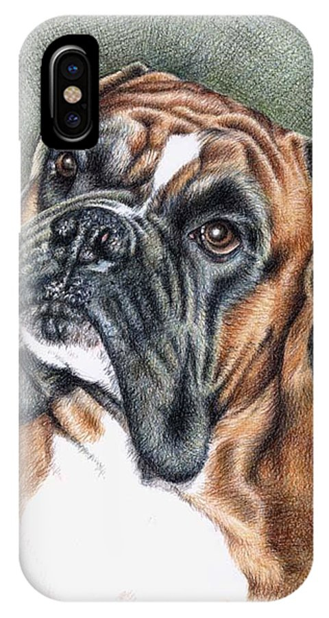 Dog IPhone X Case featuring the drawing The Boxer by Nicole Zeug