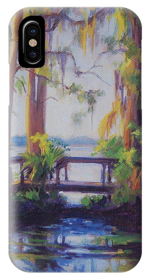 Bridge IPhone X Case featuring the painting The Bridge At Kraft Azalea by Laura Bates