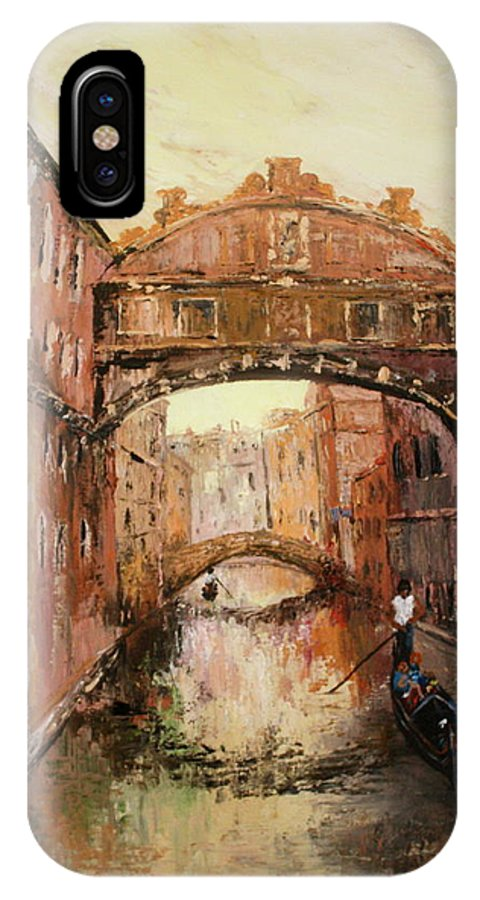 Venice IPhone X / XS Case featuring the painting The Bridge Of Sighs Venice Italy by Jean Walker