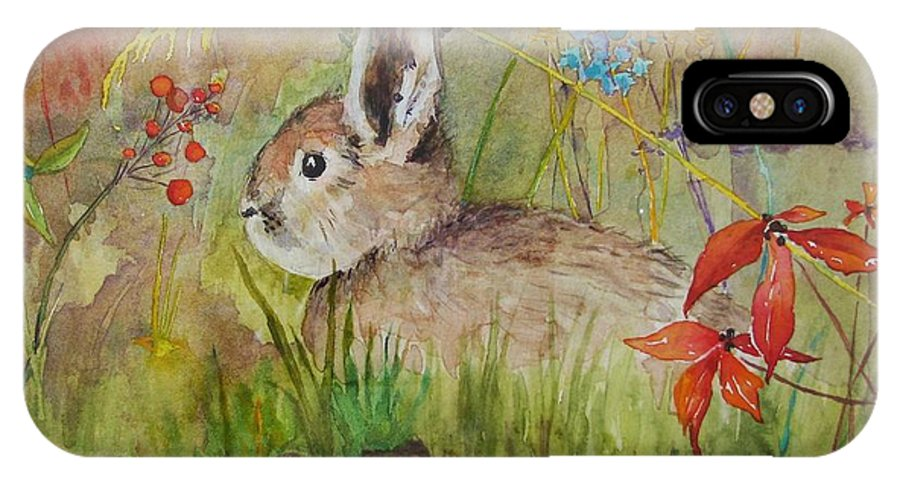 Nature IPhone X Case featuring the painting The Bunny by Mary Ellen Mueller Legault