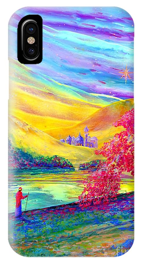 Christmas IPhone X Case featuring the painting The Calling by Jane Small
