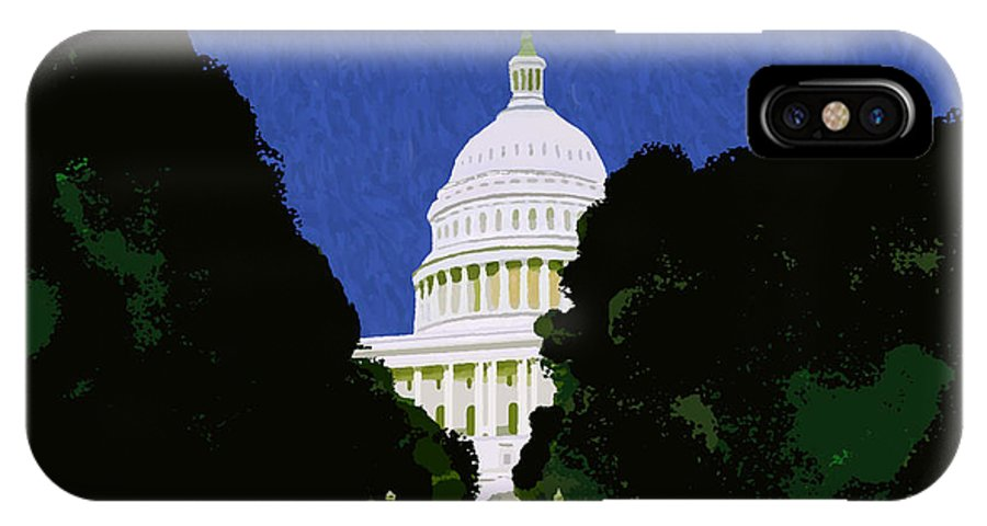 Capitol IPhone X Case featuring the painting The Capitol by Pharris Art