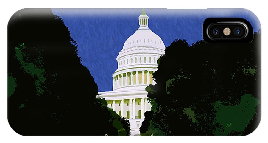 Capitol IPhone X / XS Case featuring the painting The Capitol by Pharris Art