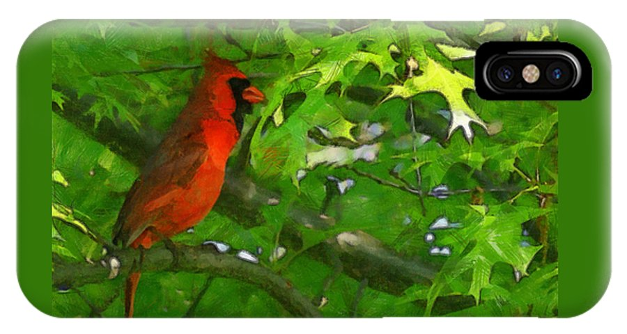 The Cardinal 2 Painterly IPhone X Case featuring the digital art The Cardinal 2 Painterly by Ernie Echols