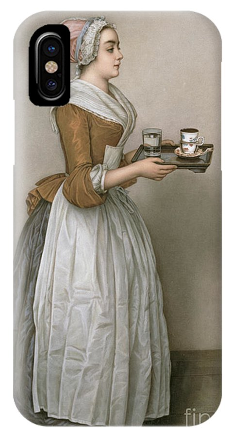 Servant IPhone X Case featuring the painting The Chocolate Girl by Jean-Etienne Liotard