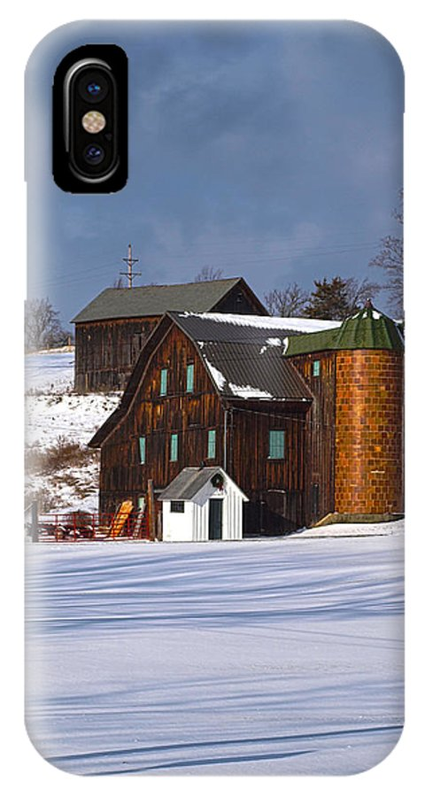 Joshua House Photography IPhone X Case featuring the photograph The Christmas Barn by Joshua House