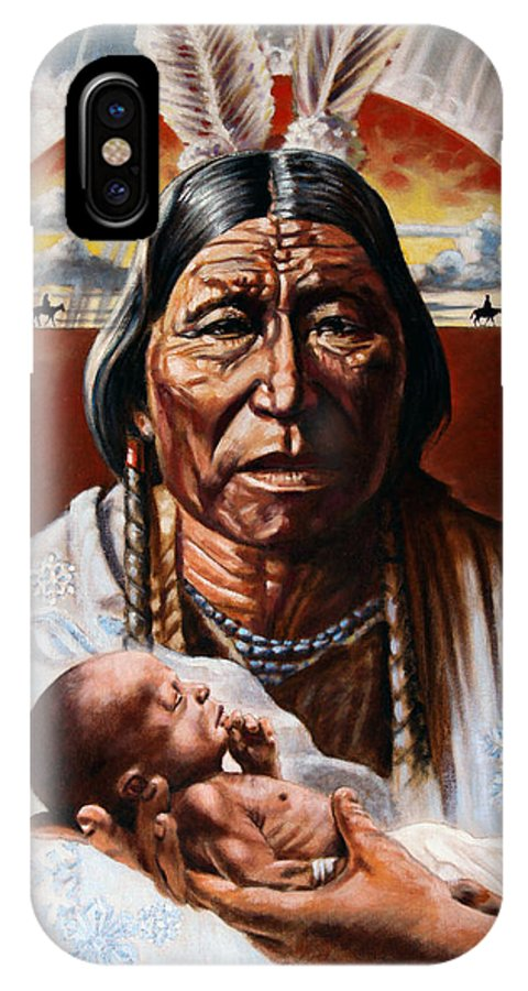 American Native IPhone X Case featuring the painting The Circle Of Life by John Lautermilch