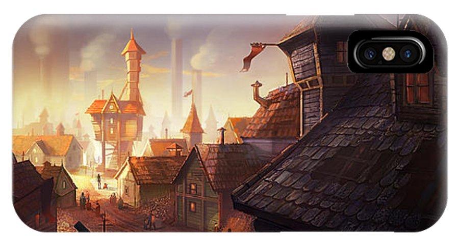 Steampunk IPhone X Case featuring the digital art The City by Kristina Vardazaryan