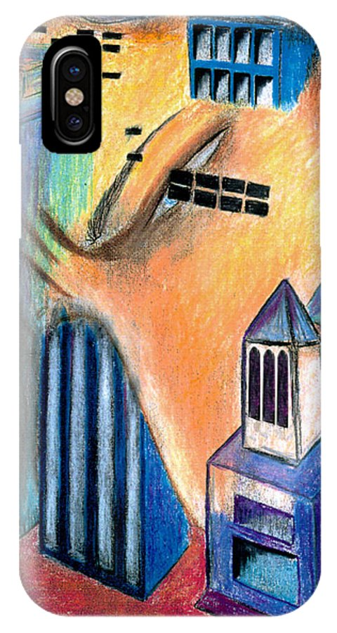 Surrealism IPhone X Case featuring the digital art The City by Renee Doehrel Rhodehamel